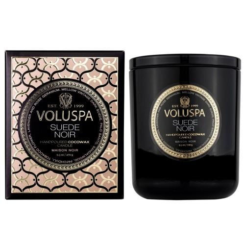 """NAUJIENA Voluspa """"Suede Noir"""" klasikinė žvakė dėžutėje"""